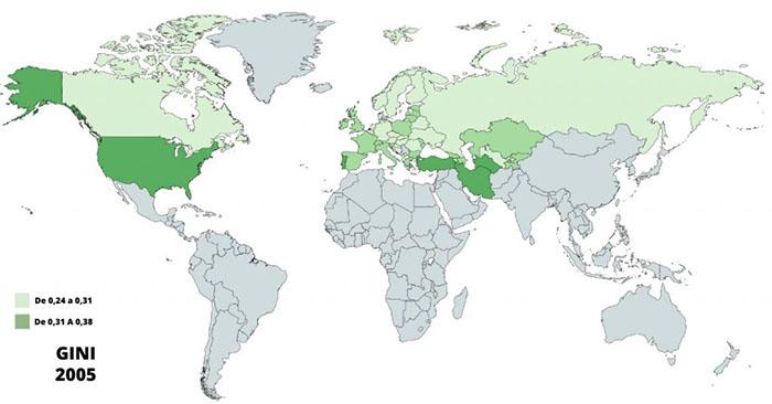 mapa gráfico informe GINI 2005