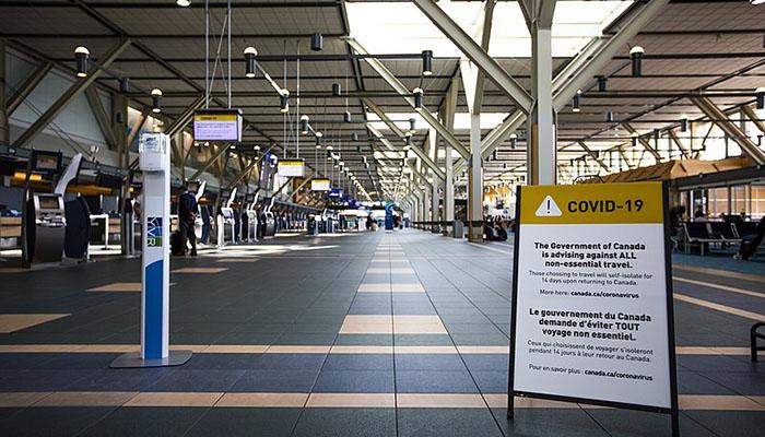 Aeropuerto Vancouver Coronavirus vacío