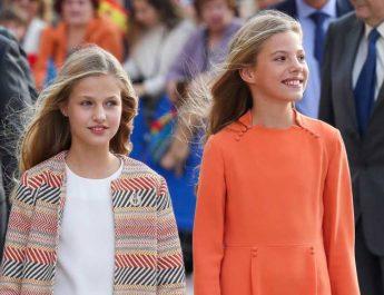 Leonor y Sofía en su visita a Oviedo, 2019