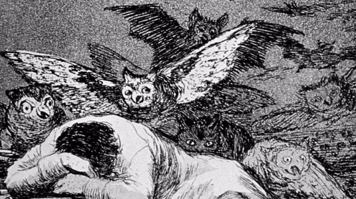 """Francisco de Goya: """"El sueño de la razón produce monstruos""""(Agua fuerte, 1799)"""