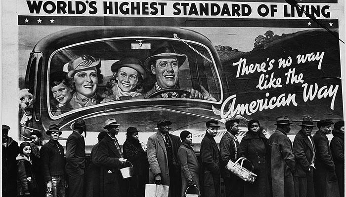Grupo de personas piel negra cartel American way of life