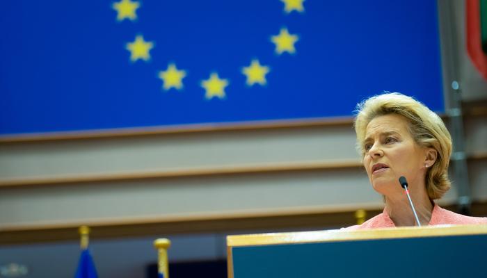 Ursula Von der Leyen, presidenta de la Comisión Europea, en una comparecencia.