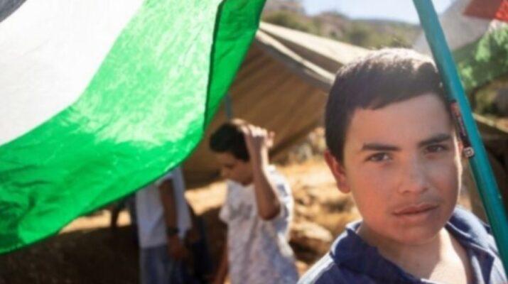 Niño con la bandera de Palestina