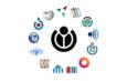 Infografía de los logos de los proyectos que pertenecen a la Fundación Wikimedia.