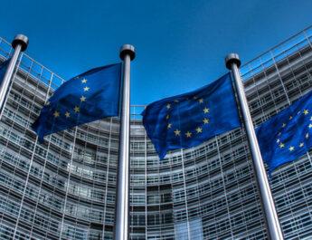Banderas de la Unión Europea en el Parlamento.