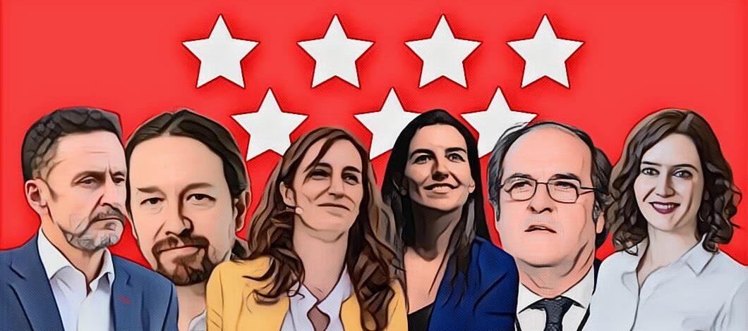 Candidatos a la presidencia de la Comunidad de Madrid sobre un fondo con la bandera de la Comunidad de Madrid