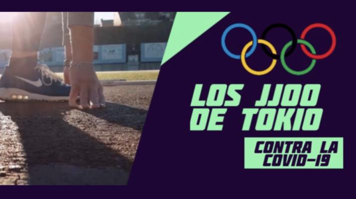 Cartel de Juegos Olímpicos Tokio contra la Covid-19, a la izquierda una foto de una pierna con una zapatilla de Nike azul en una pista de atletismo, a la derecha los aros de los Juegos Olímpicos con el titular de Los JJ.OO. de Tokio contra la Covid-19