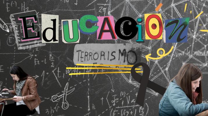"""Collage con temática de educación y terrorismo. El fondo simula una pizarra pintada con tiza blanca que recoge letras de recortes de periódicos que forman la palabra """"educación; un grafiti donde pone """"terrorismo""""; dos chicas estudiando; y un lazo negro."""